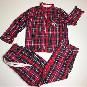 Victoria's Secret Red Flannel Plaid PJ Set Medium